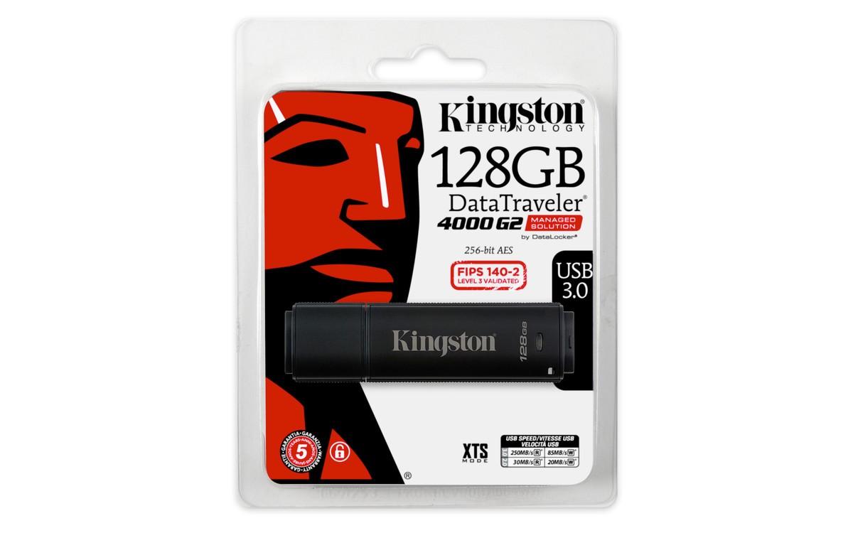 Захищений флеш накопичувач з апаратним шифруванням Kingston DataTraveler 4000 Gen2 128GB (DT4000G2DM/128GB)