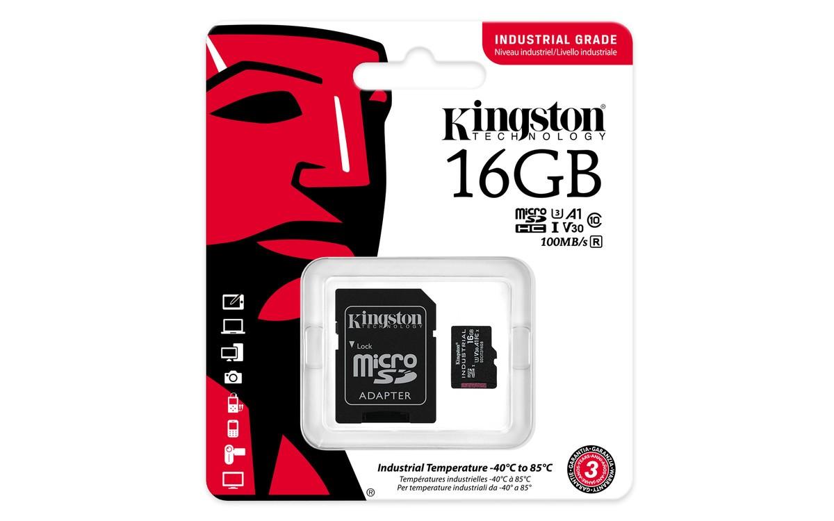 Картка пам'яті microSD Kingston 16ГБ pSLC Промислового класу. З адаптером. (SDCIT2/16GB)