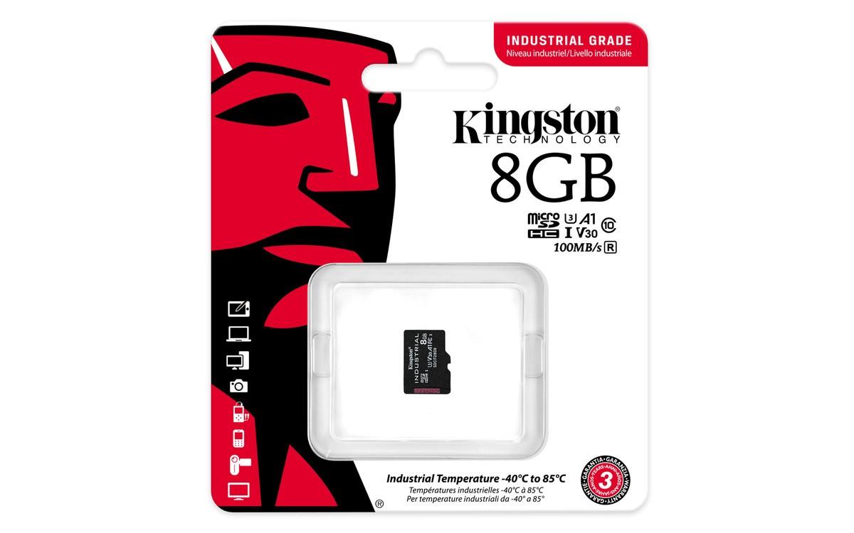Картка пам'яті microSD Kingston 8GB pSLC Промислового класу. З адаптером. (SDCIT2/8GBSP)