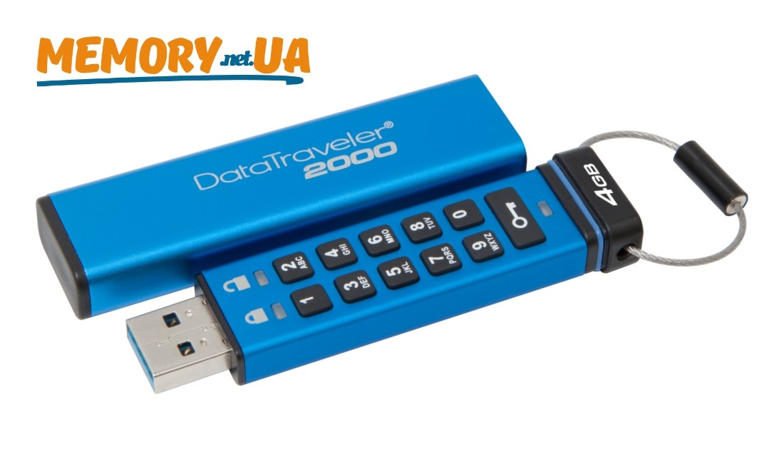 Флеш накопичувач з апаратним шифруванням Kingston DataTraveler 2000 4ГБ (DT2000/4GB)