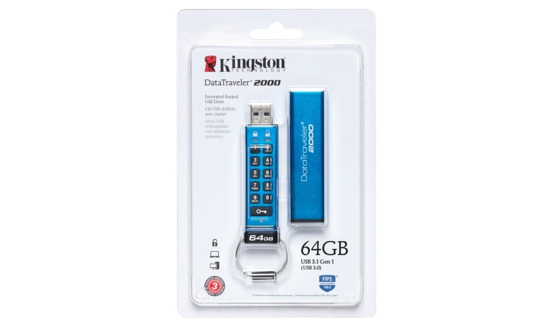 Флеш накопичувач з апаратним шифруванням Kingston DataTraveler 2000 64ГБ