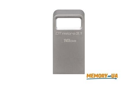 Флеш накопичувач Kingston DataTraveler Micro 16ГБ USB 3.1/3.0 Type-A металевий, компактний