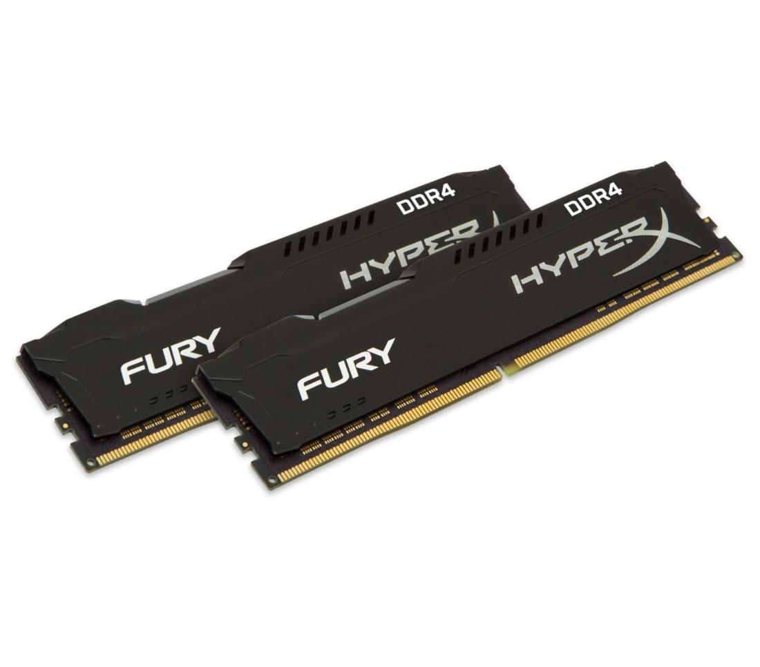 Комплект модулів оперативної пам'яті для ПК Kingston HyperX FURY 16ГБ (Комплект 2x8ГБ) DDR4 2666МГц CL16 1Rx8 DIMM Чорний (HX426C16FB3K2/16)