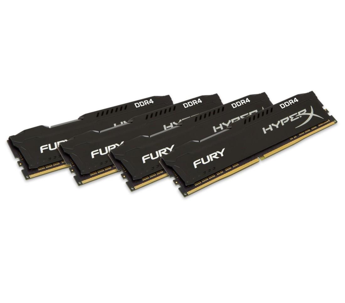 Комплект модулів оперативної пам'яті для ПК Kingston HyperX FURY 64ГБ (Комплект 4x16ГБ) DDR4 3000МГц CL15 DIMM Чорний (HX430C15FB3K4/64)