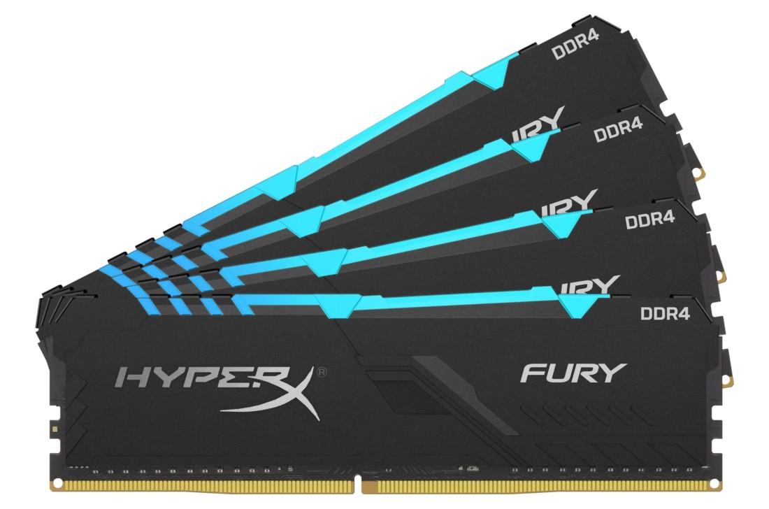 Комплект модулів оперативної пам'яті для ПК Kingston HyperX FURY RGB 32ГБ (Комплект 4x8ГБ) DDR4 2666МГц CL16 1Rx8 DIMM (HX426C16FB3AK4/32)