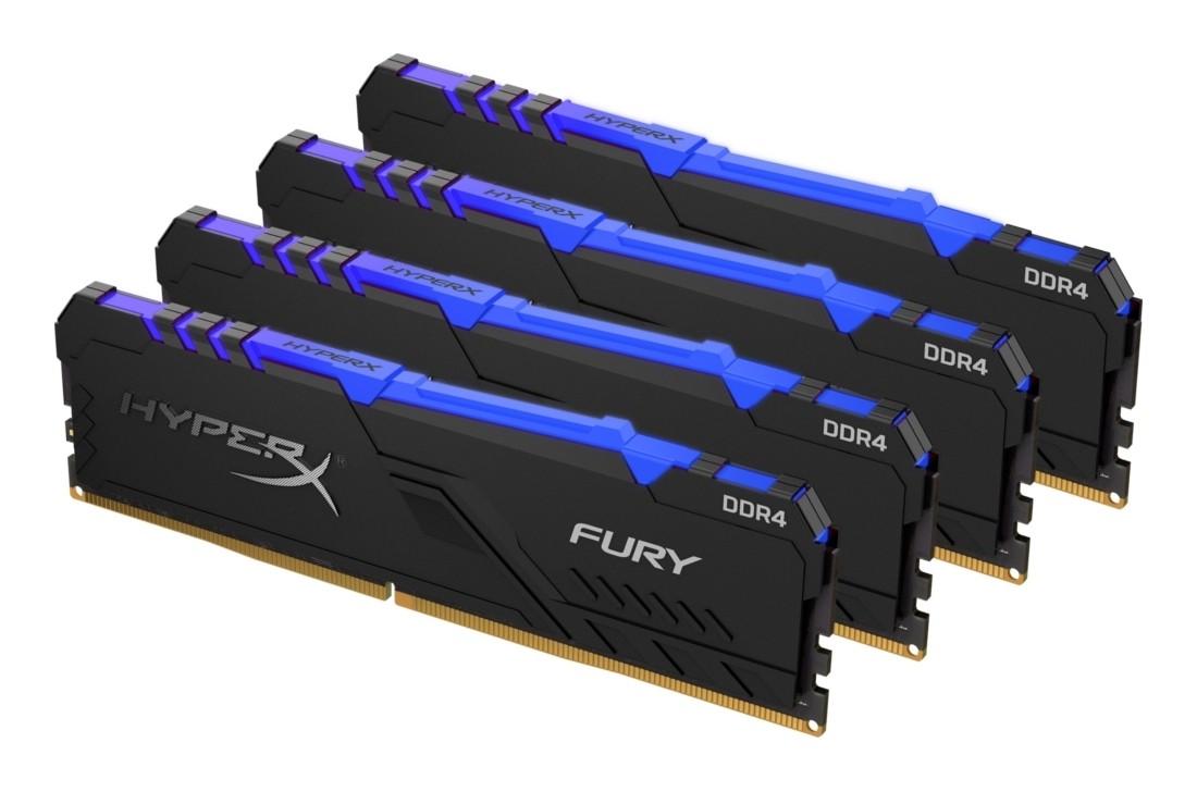 Комплект модулів оперативної пам'яті для ПК Kingston HyperX FURY RGB 64ГБ (Комплект 4x16ГБ) DDR4 3000МГц - HX430C16FB4AK4/64