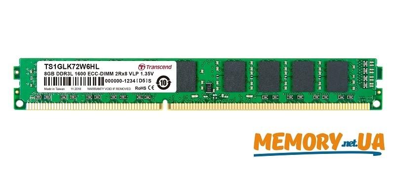Серверна пам'ять Transcend 8GB 1600MHz DDR3L ECC CL11 1.35V DIMM VLP  (TS1GLK72W6HL)