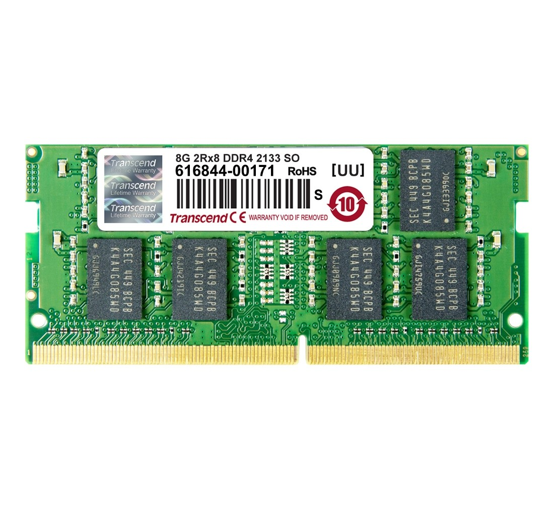 Оперативна пам'ять Transcend 8ГБ DDR4 2133МГц CL15 2Rx8 Non-ECC Unbuffered SODIMM (TS1GSH64V1H-I)