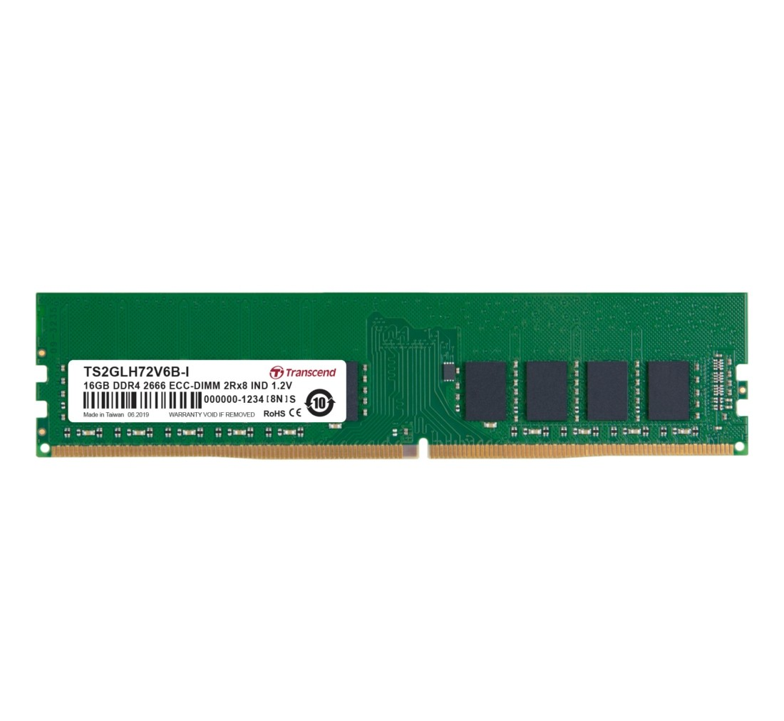 Оперативна пам'ять Transcend 16ГБ DDR4 2666МГц CL19 2Rx8 ECC Unbuffered DIMM (TS2GLH72V6B-I)