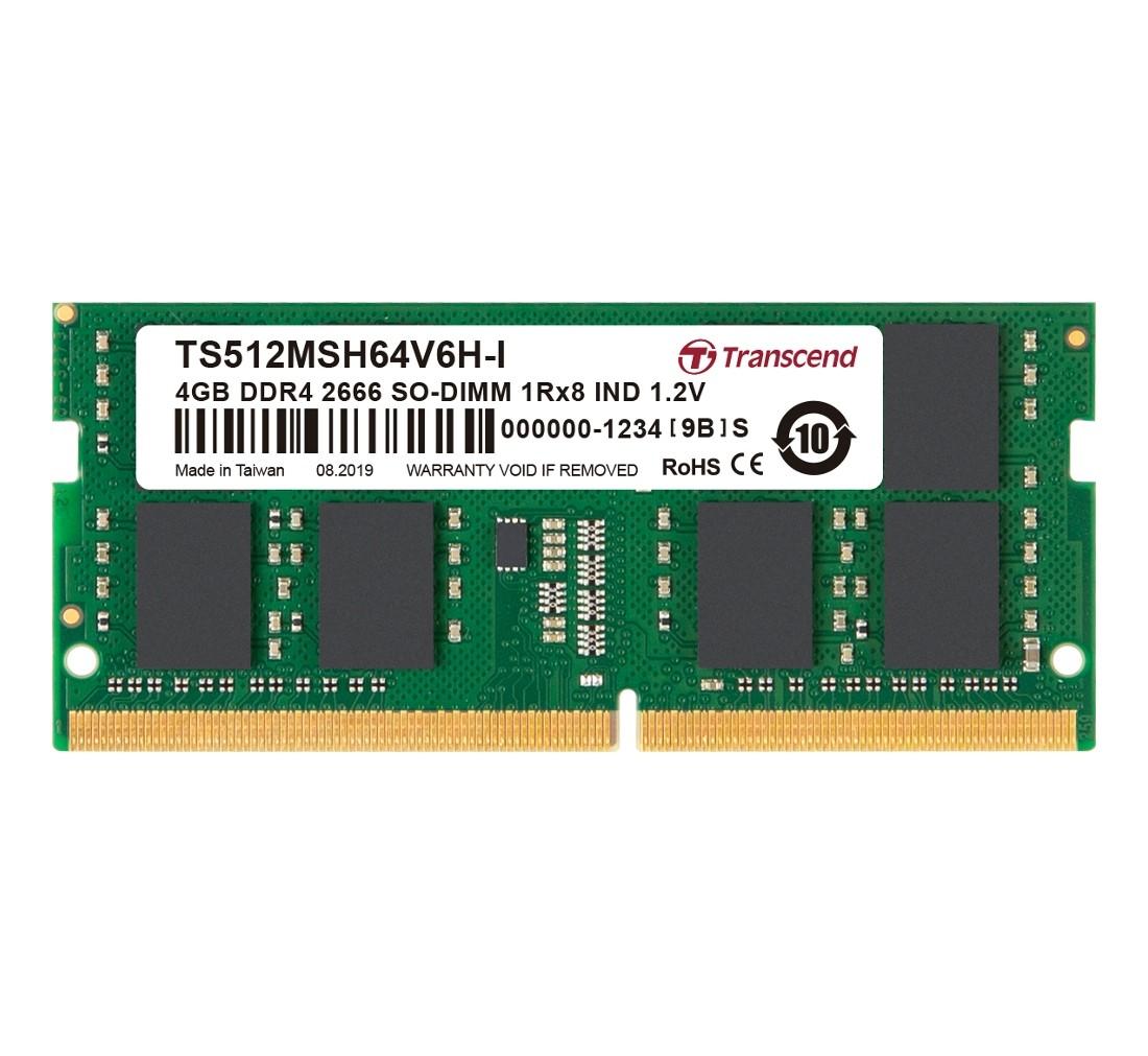 Оперативна пам'ять Transcend 4ГБ DDR4 2666МГц CL19 1Rx8 Non-ECC Unbuffered SODIMM (TS512MSH64V6H-I)
