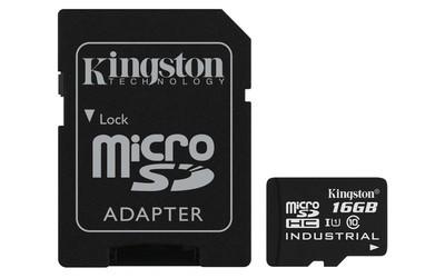 Картка пам'яті Kingston 16ГБ microSDHC Class 10 UHS-I Промислового класу з SD адаптером