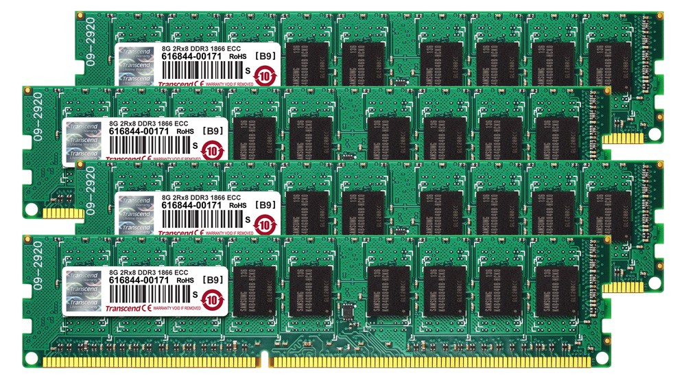 Модуль пам'яті для серверу Transcend JetMemory 32GB Kit (4x8GB) 1866MHz DDR3 ECC DR x8 DIMM for MacPro (Late2013)