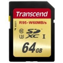 Картка пам'яті Transcend 64GB SDXC C10 UHS-I U3, швидкість читання 95МБ/с та запису 65МБ/с (TS64GSDU3)