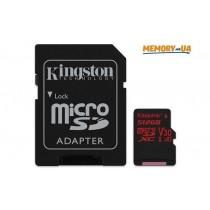 Картка пам'яті Kingston 512ГБ microSDXC UHS-I Class 3 (V30) Canvas React з SD адаптером