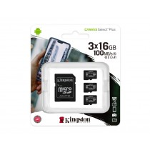 Картка пам'яті microSDHC Kingston Canvas Select Plus 3x16ГБ (SDCS2/16GB-3P1A)