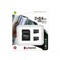 Картка пам'яті microSDXC Kingston Canvas Select Plus 2x64ГБ (SDCS2/64GB-2P1A)