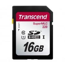 Картка пам'яті SD Transcend SDHC220 16ГБ 95МБ/с 80МБ/с UHS-I U1 SuperMLC (TS16GSDC220)