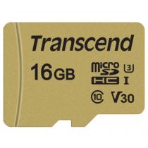 Картка пам'яті Transcend GUSD500S 16GB UHS-I U3 microSD with Adapter (TS16GUSD500S)