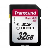 Картка пам'яті SD Transcend SDHC220 32ГБ 95МБ/с 80МБ/с UHS-I U1 SuperMLC (TS32GSDC220)