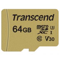 Картка пам'яті Transcend GUSD500S 64GB UHS-I U3 microSD with Adapter (TS64GUSD500S)
