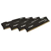 Комплект модулів оперативної пам'яті для ПК Kingston HyperX FURY 64ГБ (Комплект 4x16ГБ) DDR4 2400МГц CL15 DIMM Чорний (HX424C15FB3K4/64)