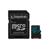 Картка пам'яті Kingston 64GB microSDXC Canvas Go 90R/45W U3 UHS-I V30 Картка + SD Адаптер  (SDCG2/64GB)