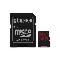 Картка пам'яті Kingston 64GB microSDXC UHS-I Class 3 (V30) Canvas React з SD адаптером (SDCR/64GB)