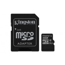Картка пам'яті Kingston 16ГБ microSDHC Canvas Select 80R CL10 UHS-I Картка + SD Адаптер