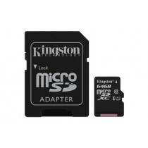 Картка пам'яті Kingston 64ГБ microSDHC Canvas Select 80R CL10 UHS-I Картка + SD Адаптер