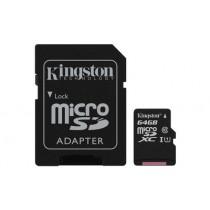 Картка пам'яті Kingston 64GB microSDHC Canvas Select 80R CL10 UHS-I Картка + SD Адаптер (SDCS/64GB)