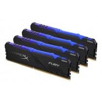 Комплект модулів оперативної пам'яті для ПК Kingston HyperX FURY RGB 64ГБ (Комплект 4x16ГБ) DDR4 3200МГц - HX432C16FB4AK4/64
