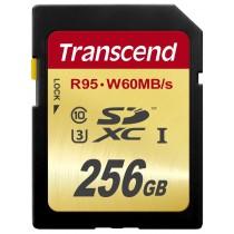 Картка пам'яті Transcend 256GB SDXC C10 UHS-I U3, швидкість читання 95МБ/с та запису 65МБ/с (TS256GSDU3)