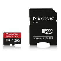 Картка пам'яті Transcend 8GB microSDHC SDHC Class 10 UHS-I 400x Premium (TS8GUSDU1)