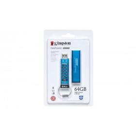 Флеш накопичувач з апаратним шифруванням Kingston DataTraveler 2000 64ГБ (DT2000/64GB)