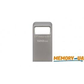 Флеш накопичувач Kingston DataTraveler Micro 128ГБ USB 3.1/3.0 Type-A металевий, компактний (DTMC3/128GB)